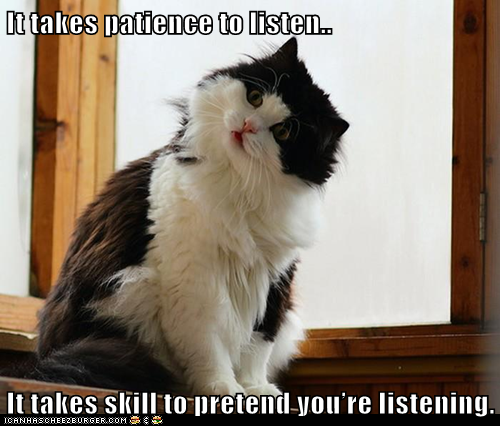 It takes patience to listen... it takes skill to pretend you're listening. (image shows a fluffy black and white cat, head tilted to the side, with face intent on something in the distance)